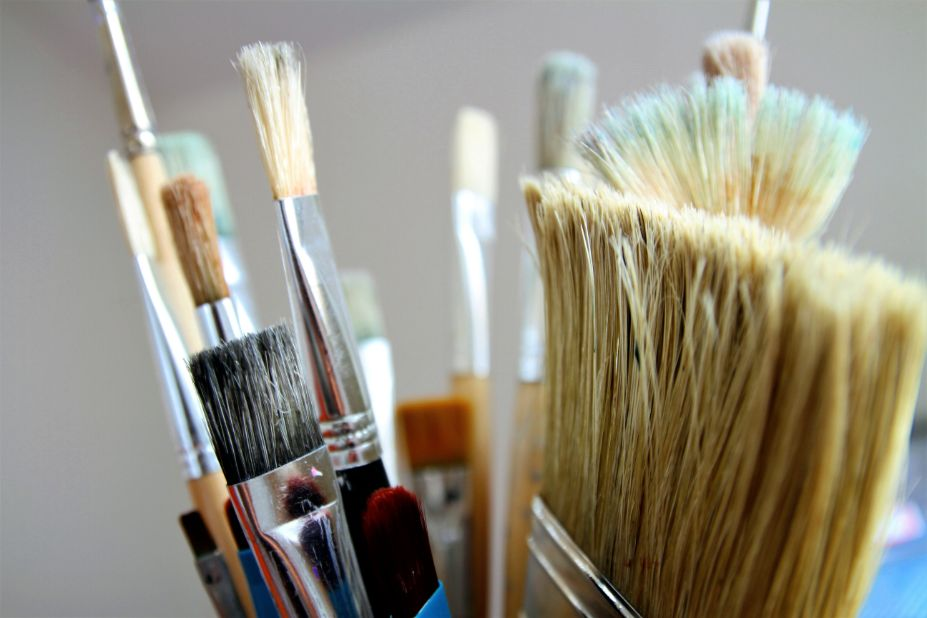 Image shows paint brushes used by apartment painters NYC professionals. Based on clients desires our apartment painters give ideas on best selection of colors. Image was taken in January 2020
