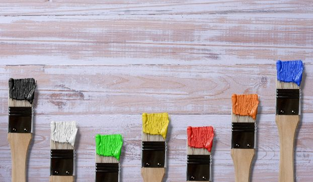 In this image we have Apartment painters NYC show several paint brushes with different types of paint. Depending on the room in the apartment, climate and number of people living there, we can recommend what type is more practical. Image was taken in April 2020